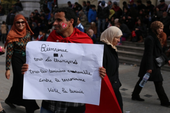 """Welcome to foreigners. All Tunisians stand together against terrorism. Long live Tunisia."""
